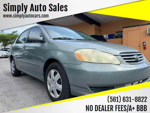 2003 Toyota Corolla for sale at Simply Auto Sales in Palm Beach Gardens FL