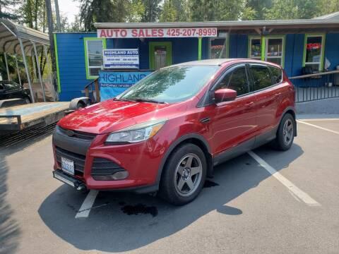 2014 Ford Escape for sale at HIGHLAND AUTO in Renton WA