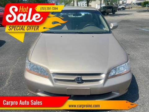 2000 Honda Accord for sale at Carpro Auto Sales in Chesapeake VA