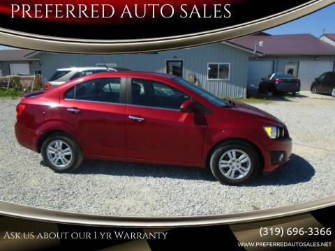 2013 Chevrolet Sonic for sale at PREFERRED AUTO SALES in Lockridge IA