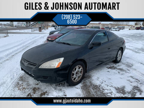 2006 Honda Accord for sale at GILES & JOHNSON AUTOMART in Idaho Falls ID