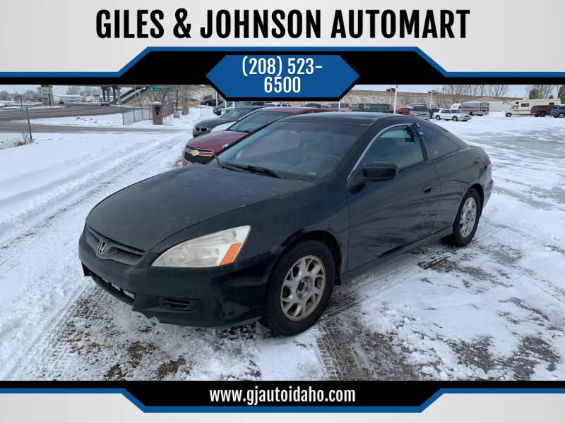 2006 Honda Accord for sale at GILES & JOHNSON AUTOMART in Idaho Falls ID