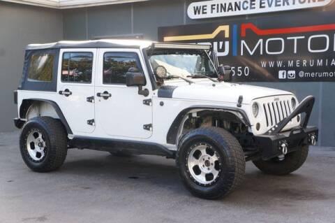 2016 Jeep Wrangler Unlimited for sale at Meru Motors in Hollywood FL