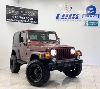2002 Jeep Wrangler for sale at Elegant Auto Sales in Rancho Cordova CA