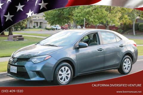 2015 Toyota Corolla for sale at California Diversified Venture in Livermore CA