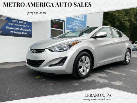 2016 Hyundai Elantra for sale at METRO AMERICA AUTO SALES of Lebanon in Lebanon PA