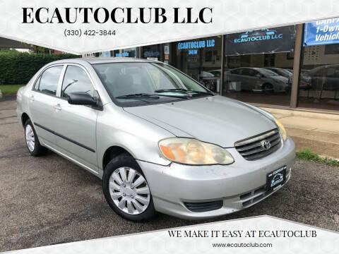 2003 Toyota Corolla for sale at ECAUTOCLUB LLC in Kent OH