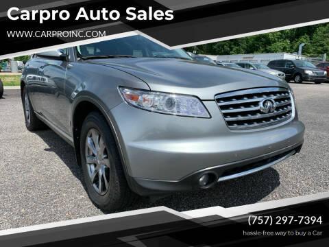 2008 Infiniti FX35 for sale at Carpro Auto Sales in Chesapeake VA