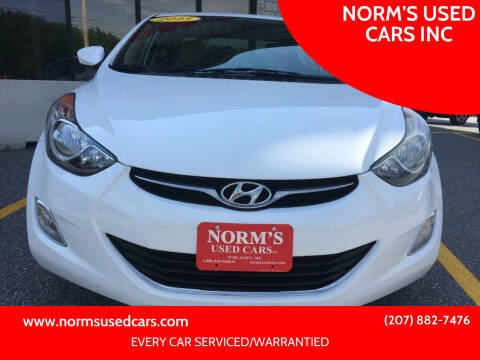 2013 Hyundai Elantra for sale at NORM'S USED CARS INC in Wiscasset ME