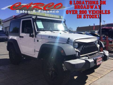 2016 Jeep Wrangler for sale at CARCO SALES & FINANCE in Chula Vista CA