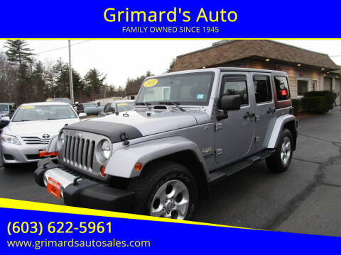 2013 Jeep Wrangler Unlimited for sale at Grimard's Auto in Hooksett, NH