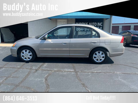 2002 Honda Civic for sale at Buddy's Auto Inc in Pendleton, SC