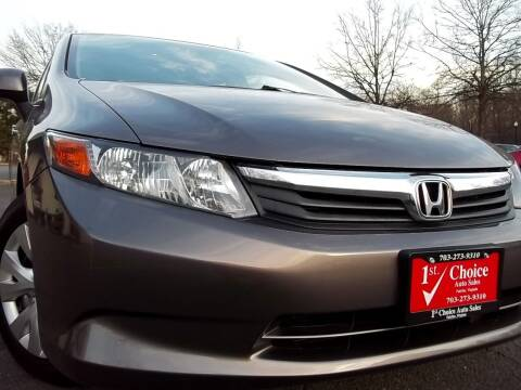 2012 Honda Civic for sale at 1st Choice Auto Sales in Fairfax VA