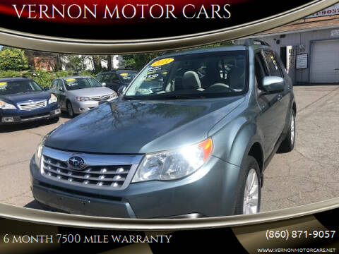 2011 Subaru Forester for sale at VERNON MOTOR CARS in Vernon Rockville CT