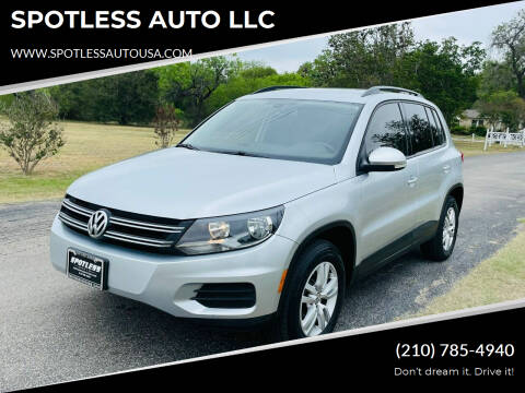2016 Volkswagen Tiguan for sale at SPOTLESS AUTO LLC in San Antonio TX
