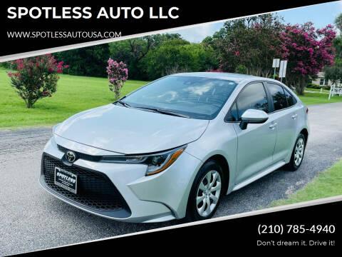 2020 Toyota Corolla for sale at SPOTLESS AUTO LLC in San Antonio TX