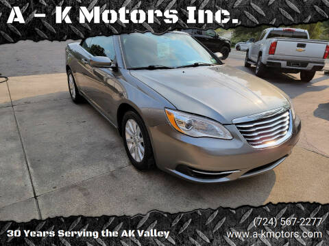 2011 Chrysler 200 Convertible for sale at A - K Motors Inc. in Vandergrift PA
