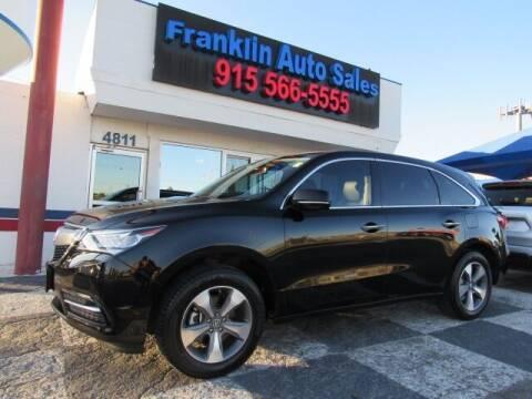 2016 Acura MDX for sale at Franklin Auto Sales in El Paso TX