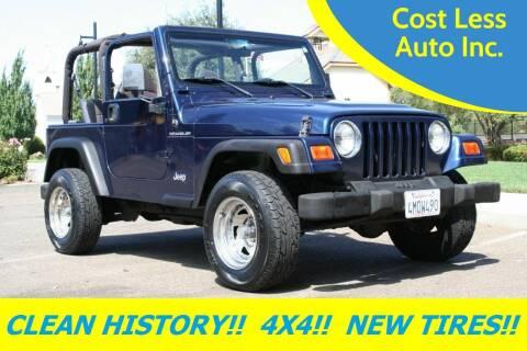 2000 Jeep Wrangler for sale at Cost Less Auto Inc. in Rocklin CA