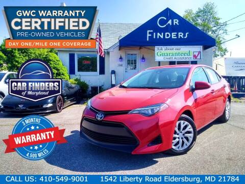 2017 Toyota Corolla for sale at CAR FINDERS OF MARYLAND LLC - Certified Cars in Eldersburg MD