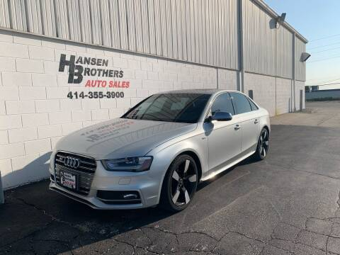 2014 Audi S4 for sale at HANSEN BROTHERS AUTO SALES in Milwaukee WI