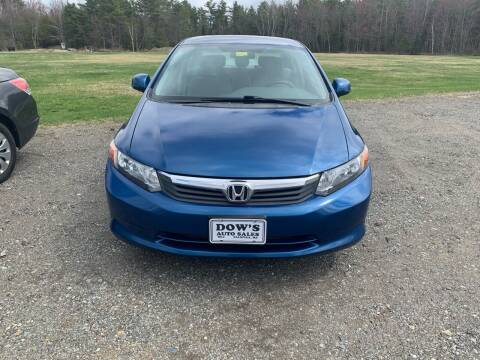 2012 Honda Civic for sale at DOW'S AUTO SALES in Palmyra ME