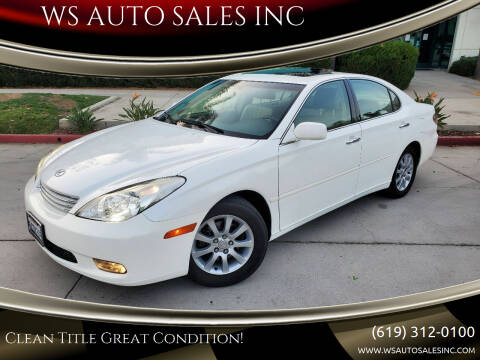 2003 Lexus ES 300 for sale at WS AUTO SALES INC in El Cajon CA