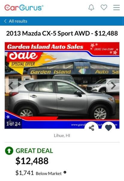 2013 Mazda CX-5 for sale at Garden Island Auto Sales in Lihue HI