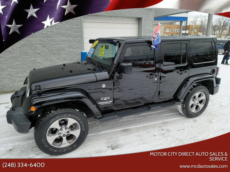 2016 Jeep Wrangler Unlimited for sale at Motor City Direct Auto Sales & Service in Pontiac MI
