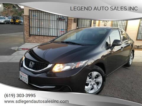 2013 Honda Civic for sale at Legend Auto Sales Inc in Lemon Grove CA