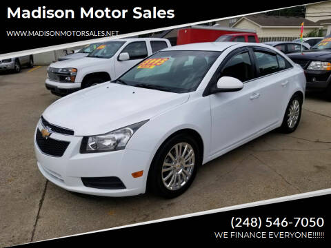 2012 Chevrolet Cruze for sale at Madison Motor Sales in Madison Heights MI