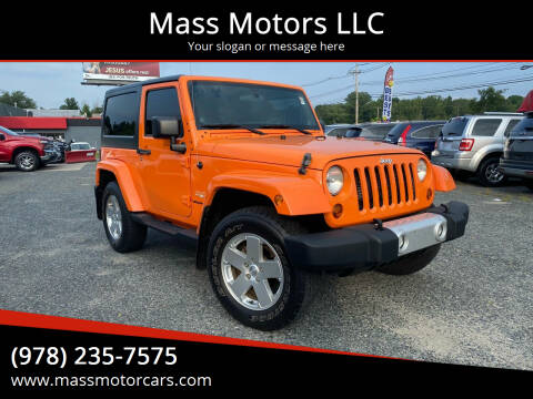 2012 Jeep Wrangler for sale at Mass Motors LLC in Worcester MA