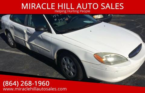 2001 Ford Taurus for sale at MIRACLE HILL AUTO SALES in Greenville SC
