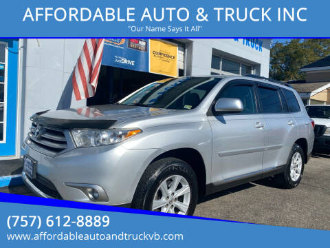 2013 Toyota Highlander for sale at AFFORDABLE AUTO & TRUCK INC in Virginia Beach VA