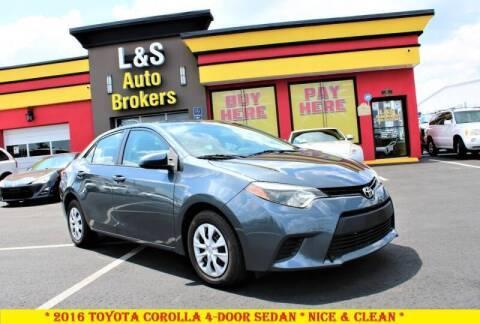 2016 Toyota Corolla for sale at L & S AUTO BROKERS in Fredericksburg VA