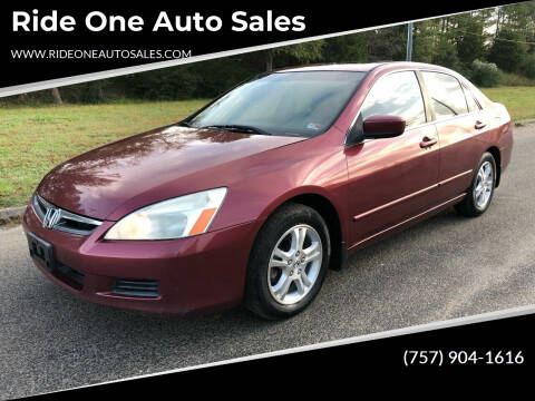 2006 Honda Accord for sale at Ride One Auto Sales in Norfolk VA