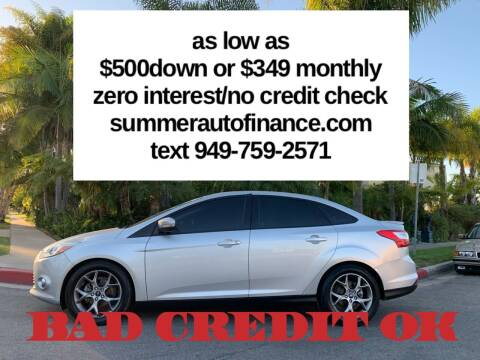 2013 Ford Focus for sale at SUMMER AUTO FINANCE in Costa Mesa CA
