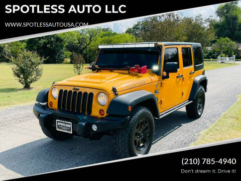 2013 Jeep Wrangler Unlimited for sale at SPOTLESS AUTO LLC in San Antonio TX