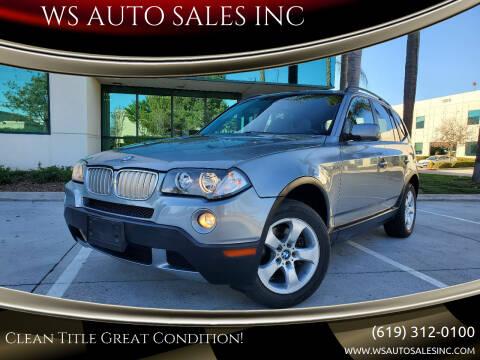 2008 BMW X3 for sale at WS AUTO SALES INC in El Cajon CA