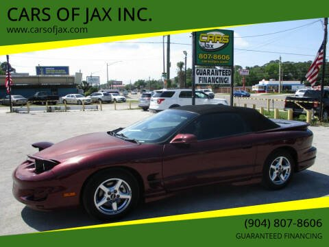 2001 Pontiac Firebird for sale at CARS OF JAX INC. in Jacksonville FL