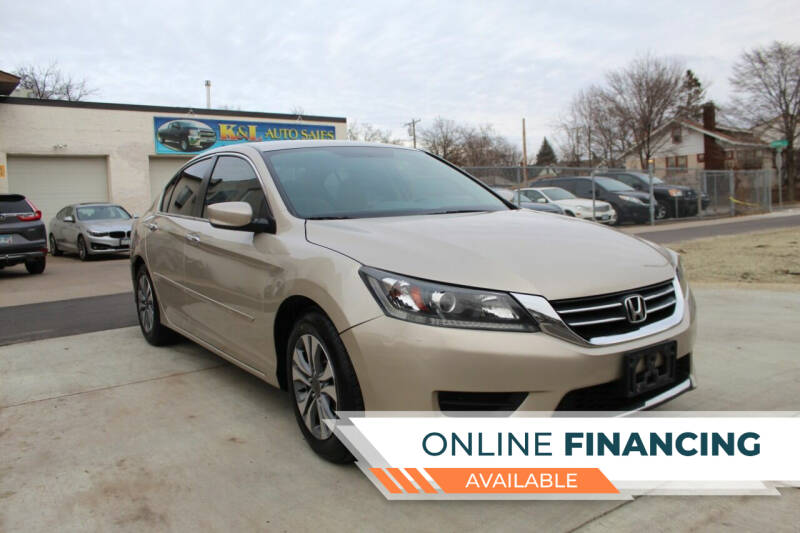 2013 Honda Accord for sale at K & L Auto Sales in Saint Paul MN