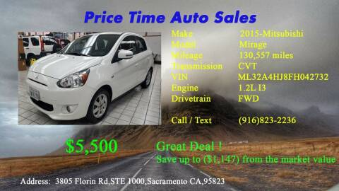 2015 Mitsubishi Mirage for sale at PRICE TIME AUTO SALES in Sacramento CA