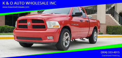 2012 RAM Ram Pickup 1500 for sale at K & O AUTO WHOLESALE INC in Jacksonville FL