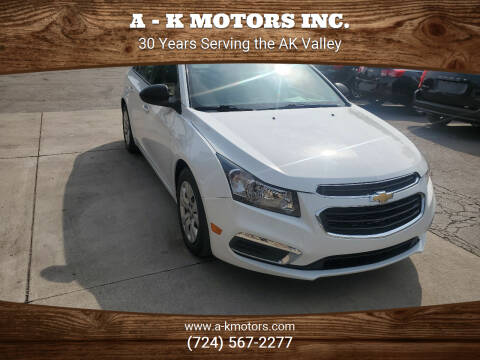 2016 Chevrolet Cruze Limited for sale at A - K Motors Inc. in Vandergrift PA