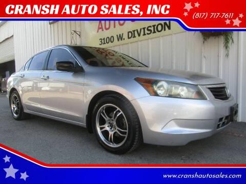 2009 Honda Accord for sale at CRANSH AUTO SALES, INC in Arlington TX