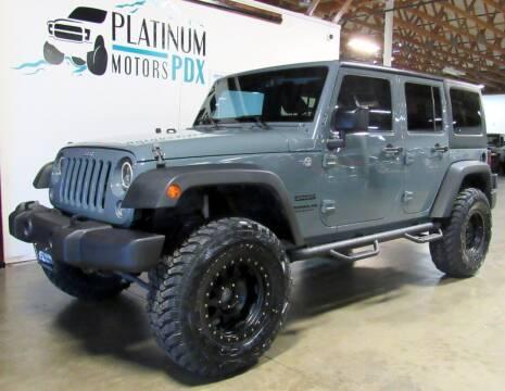 2015 Jeep Wrangler Unlimited for sale at Platinum Motors in Portland OR