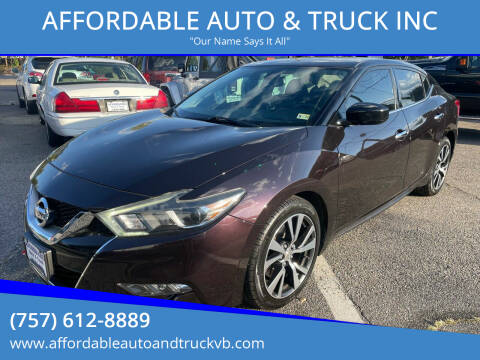 2016 Nissan Maxima for sale at AFFORDABLE AUTO & TRUCK INC in Virginia Beach VA