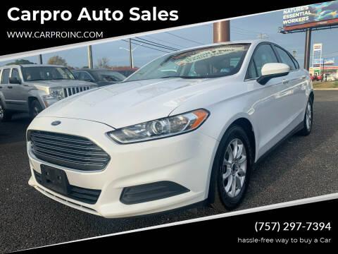 2015 Ford Fusion for sale at Carpro Auto Sales in Chesapeake VA
