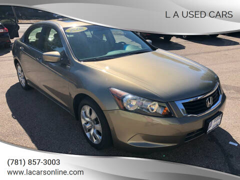 2008 Honda Accord for sale at L A Used Cars in Abington MA