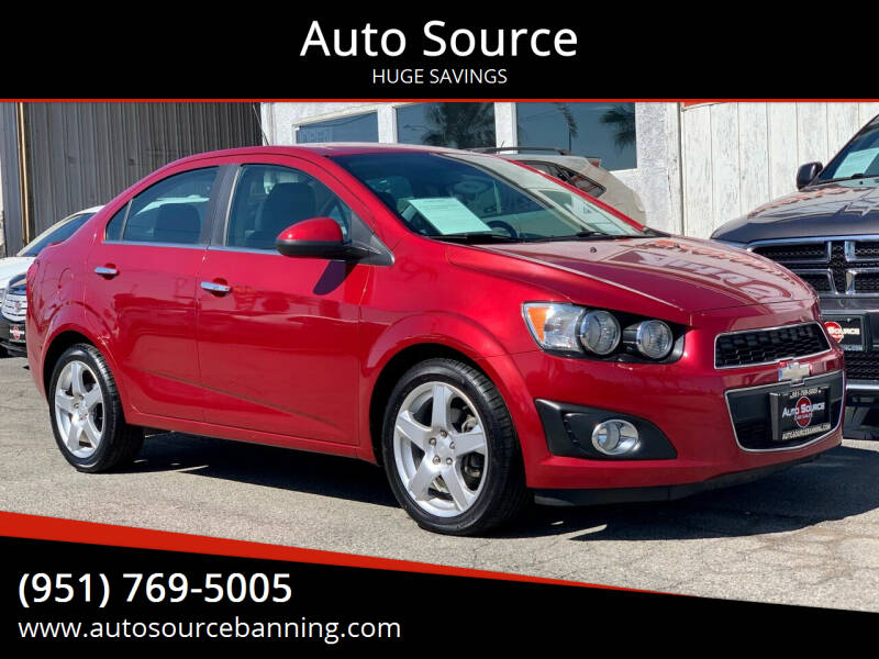 2013 Chevrolet Sonic for sale at Auto Source in Banning CA